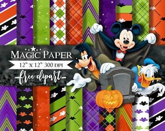 Halloween Mickey Mouse Digital Paper, Scrapbook, Digital Papers, Scrapbooking, Paper Pack, Digital
