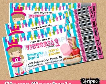 Ticket Circus Invitation-Circus-Circus Party-Carnival Party-Carnival Invitations-Carnival Party Invitations-Clown Invitations-Girl clown