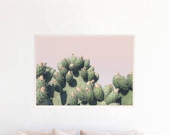 Cactus Art Print, Cactus Large Poster, Cactus Photography, Pastel Wall Art, Boho Decor, Prickly Pear Photo Cactus Printable Download, c5pgl