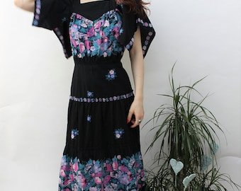 1970s Black Floral Tiered Maxi Dress Size UK 6, US 2, EU 34