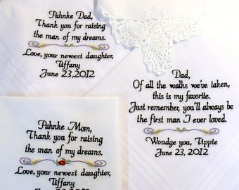 Embroidered Wedding Handkerchiefs, Personalized, SET of 4, WEDDING GIFTS, Mother, Father of the Bride, In-Laws Weddings By Canyon Embroidery