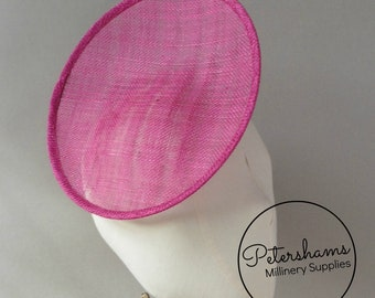 Rounded Scoop 21cm Sinamay Fascinator Hat Base for Millinery & Hat Making - Cerise