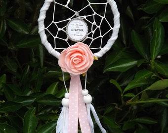 dreamcatcher * capteur de rêve * cadeau école * maîtresse * fleur rose * ruban