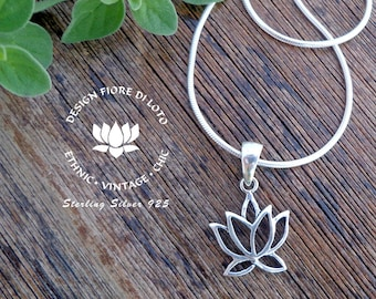 Sterling Silver Lotus pendant, Lotus Flower charm, Lotus Lovers, buddhist jewelry, Spiritual pendant charm, gift for meditation,Yoga Lovers