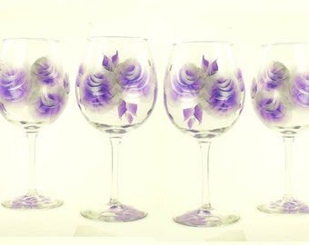 Set of 4 Painted Glasses, Choose Your Stemware - Silver and Purple Roses, 21st Birthday Gift, Stemless Wine Glass Set 4 Beverage Glasses