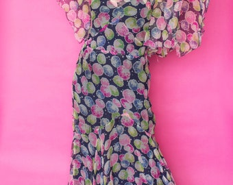 1930s Dress / 30s Floral Chiffon Gown / Flutter Sleeve Maxi