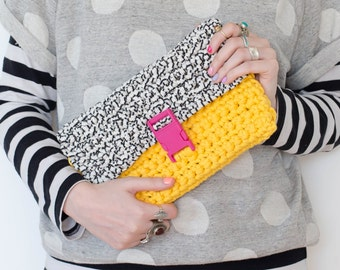 Yellow/Black + White Two Tone Chunky Crochet Clutch Bag with Buckle Closure