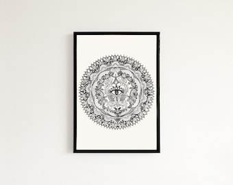 Third Eye Mandala - Hand drawn art print