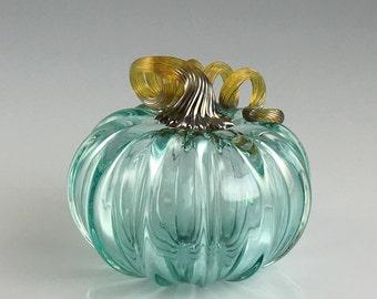 """5"""" Glass Pumpkin by Jonathan Winfisky - Transparent Emerald Green - Hand Blown Glass"""