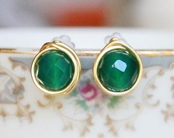 Emerald Stud Earrings , Green Agate Earrings , May Birthstone Earrings , Wire Wrapped Studs , Bridesmaid Earrings