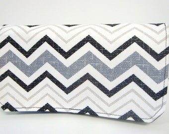 40% Off Coupon Organizer Cash Budget Organizer Holder- Attaches to your Shopping Cart  - Gray and Black Chevron Decor Fabric
