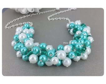 Aqua and White Cluster Necklace Pearl Cluster Necklace Bridesmaid Jewelry Bridesmaid Gift Destination Wedding Jewelry Aqua Necklace