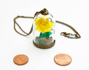 Eternal rose yellow origami pendant under glass dome