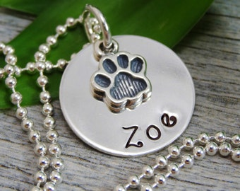 Mom Necklace For Pet Owner - Hand Stamped Jewelry - Personalized Jewelry - Pet Jewelry - Sterling Silver Necklace - Paw Print Charm