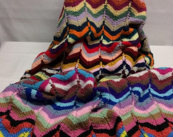 Knit lap robe or small afghan