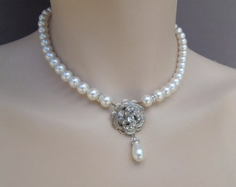 pearl necklace, bridal pearl necklace, Wedding Rhinestone necklace, swarovski crystal and pearl necklace, Statement necklace, ROSELANI