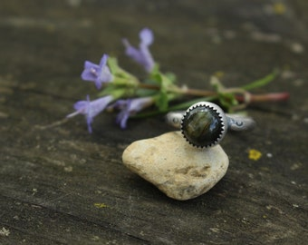 Size 7 - LABRADORITE STACK RING - Stamped Brave - Handmade - Sterling Silver - Gift For Her - Anxiety - Ready To Ship - Silver Ring