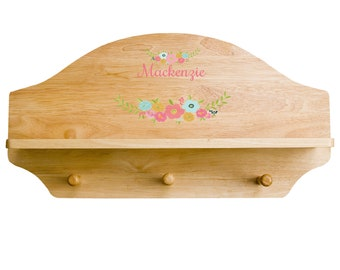 Personalized Spring Floral Natural Wooden Three Peg Rack And Shelf