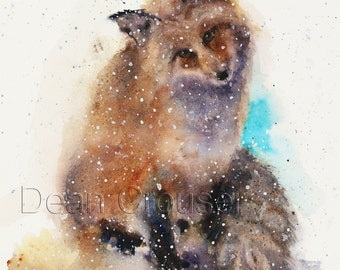 FOX in SNOW Watercolor Animal Print, Fox Painting by Dean Crouser