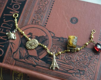 Antique Gold Fill OOAK Charm Bracelet, OOAK Eiffel Tower Glass charms, Dangles, Jewelry gift for her