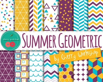 """Digital Paper Geometric """"Summer Geometric"""" printable paper pack for scrapbook, invites, stationery in geometric patterns COMMERCIAL USE"""