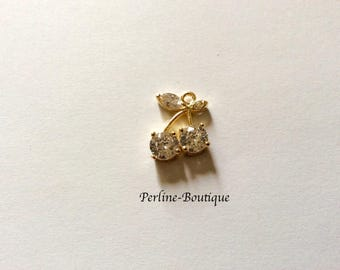 19 * 14MM gold plated cubic zirconia cherry charm