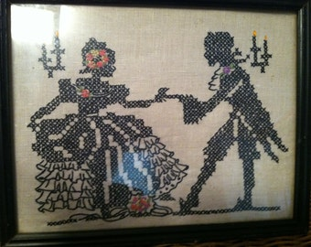 VINTAGE  CROSS STITCH Bride & Groom Couple Silhouette Style Framed 1930's