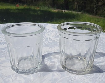 vintage French jam jars, set of 2 Confiture jar, Heavy glass jam jar,French vintage kitchenware, French Country