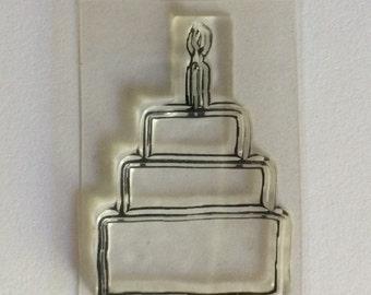 Petite Cake stamp, acrylic stamp, cake stamp, birthday stamp, wedding stamp, birthday cake stamp, wedding cake stamp, bullet journal stamp