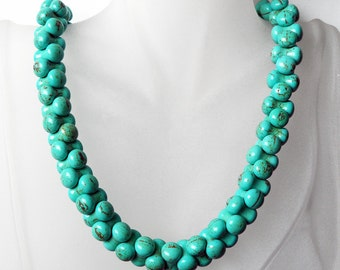 "Turquoise ""Rope"" Necklace, Peanut Shape Blue Beads, Handmade Jewelry, 49"