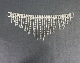 Beaded Clear Crystal rhinestone fringe bikini connectors silver toned