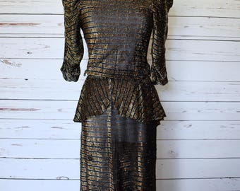 1970s Black Gold Metallic Dress Sheer Peplum Low Back Disco Womens Vintage Small