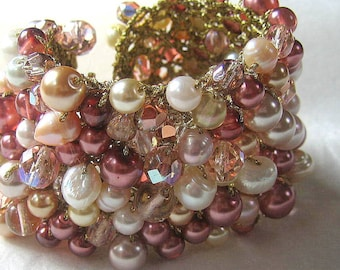 Bridal Wedding Statement  Pearl Crystal  Cuff Bracelet, STRAWBERRY ROSE Deep & Pale Pink Peachy Mauve, Gold,Fresh water and glass pearls.