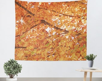 Orange - Tapestry - Wall Hanging - Tapestries - Wall Tapestry - Tree - Woodland - Foliage - Autumn Decor - Woodland Tapestry - Fall Decor