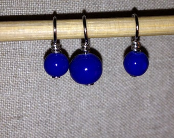 Deep blue glass bead stitch markers for knitting