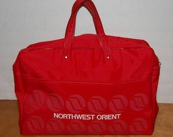Northwest Orient Travel Bag Vintage Luggage Purse Carry All Retro Kitsch Vinyl Bag