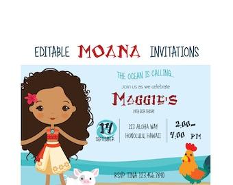 Island invitation etsy moana editable instant download birthday invitation editable pdf file moana inspired island princess custom party invite hawaii stopboris Choice Image
