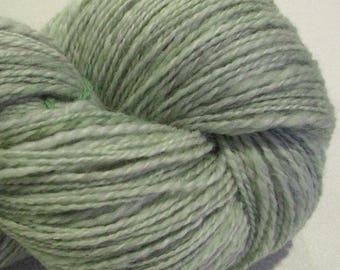 Handspun yarn, Grey Green 450  yards, DK weight, grey gray yarn, green yarn, 2 ply,  Superwash BFL wool, Nylon, sock yarn, knitting supplies