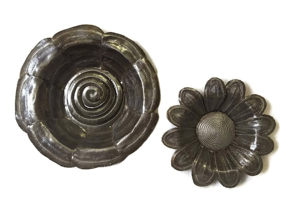 """Metal Flowers Handmade in Haiti From Recycled Oil Drums, (set of 2), 7"""", 9"""""""