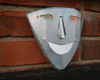 metal garden art  sculpture face handmade recycled #301