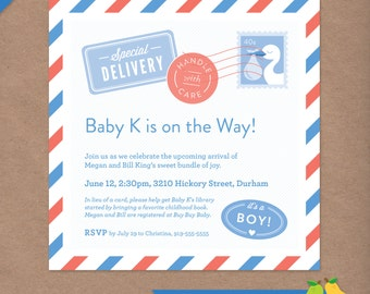 Baby on the Way Baby Shower Invitation // DIY Custom Printable Baby Shower Invite // Special Delivery Stork Mail Package
