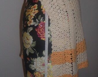 Vintage Crochet Gold and Cream Half Apron, Small