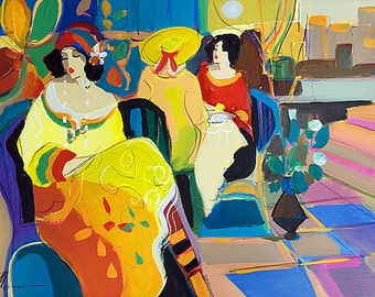 Acrylic on Canvas Original Signed Painting by Isaac Maimon Women at a Cafe Unique Art
