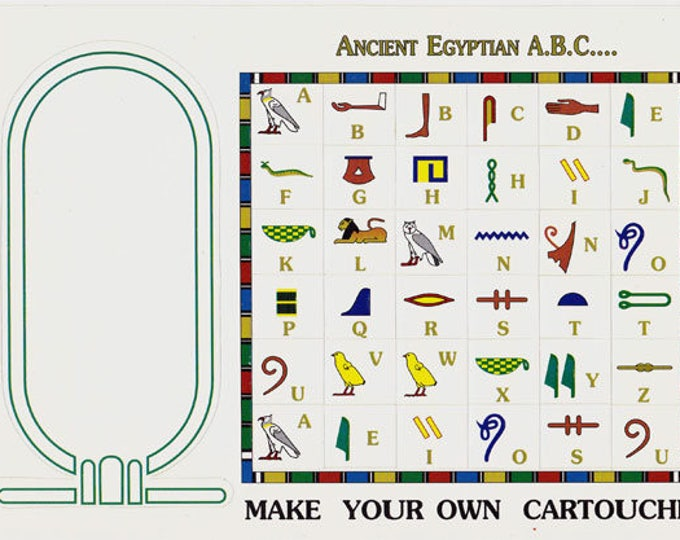 New Price! Hieroglyphic Alphabet stickers! Make Your Own Egyptian Cartouche! Write your name in hieroglyphics! .70 each sold in half dozens