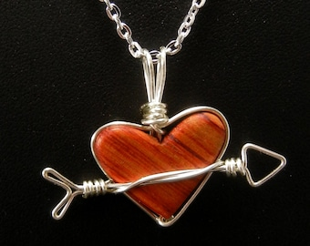 Cupid heart wire wrapped wood pendant necklace
