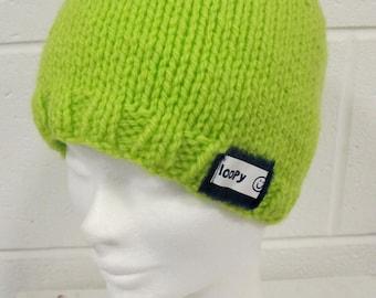 Green Handknit Beanie Hat
