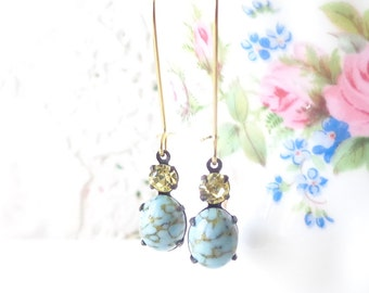 Vintage Turquoise Earrings - Vintage Jonquil Earrings - Two Stone Earrings - Long Dangle Earrings
