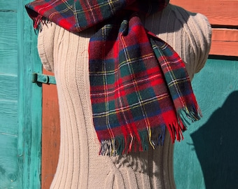 Vintage Pendleton Red Plaid Wool Scarf