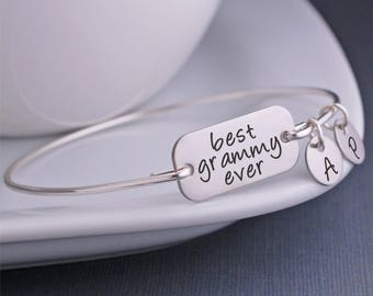 Best Grammy Ever Bangle Bracelet, Mother's Day Gift for Grammy, Silver Grammy Jewelry, Custom Engraved gift for Grammy