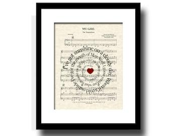My Girl by The Temptations Spiral Song Lyric Sheet Music Art Print, Art For Girls, Girls Nursery Art, Classic Song Art, Music Wall Art